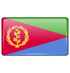 Flags Eritrea in the form of a magnet on vector image vector image