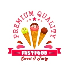Ice cream fast food menu card sticker emblem vector