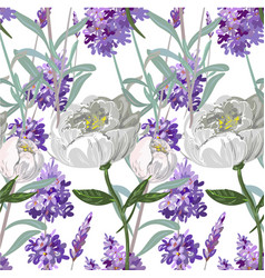 Lavender and peony seamless pattern vector