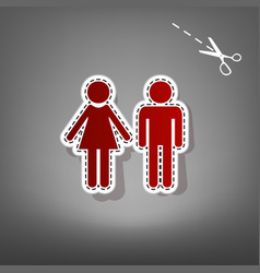 Male and female sign red icon with for vector