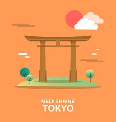 meiji shrine holy building in tokyo design vector image vector image