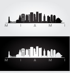 Miami usa skyline and landmarks silhouette vector