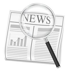 newspaper with magnifying glass vector image vector image