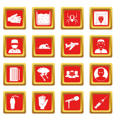 Phobia symbols icons set red vector