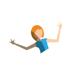 Portrait girl celebration gesture vector
