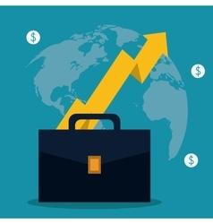 Suitcase coins arrow bag business icon vector