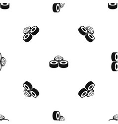 sushi pattern seamless black vector image vector image
