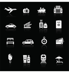 Travel icons white on black vector image
