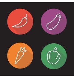 Vegetables flat linear icons set vector image vector image