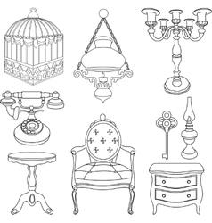 vintage rotro decor items vector image vector image