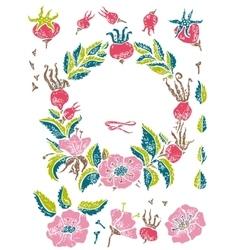 Wild rose linocut set vector