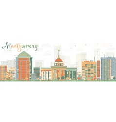 Abstract montgomery skyline with color buildings vector