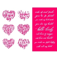 Set of happy valentines day handwritten lettering vector