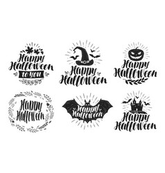 Halloween label set holiday symbol or logo vector
