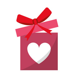 Love gift box bow wrapped vector