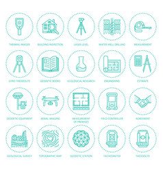 geodetic survey engineering flat line icons vector image
