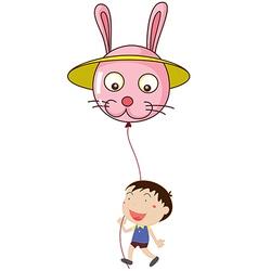 A kid with a bunny balloon vector image