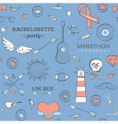 Doodle seamless hipster pattern over blue vector