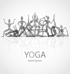 Yoga poses silhouettes body pose female vector