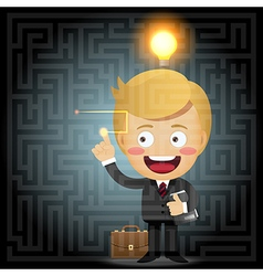 Businessman solving the solution of labyrinth vector