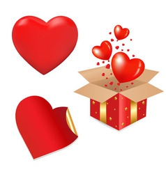 Heart gift box vector