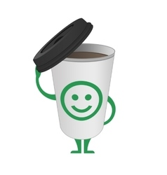 Character cup of coffee vector image
