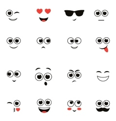 Smiley faces isolated on white vector