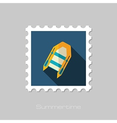 Inflatable boat flat stamp summer vacation vector