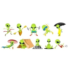 set of green aliens sport vector image