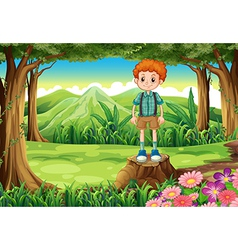 A boy at the forest standing above the stump vector image vector image