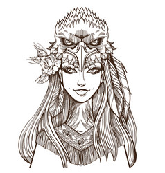 A woman with an eagle mask beautiful girl in a vector
