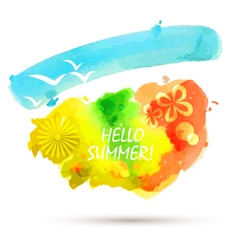 Abstract summer watercolor background vector