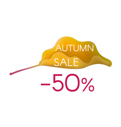 autumn sale on yellow cartoon leaf vector image vector image