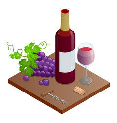 bottle of red wine bunches of wine grapes and vector image vector image