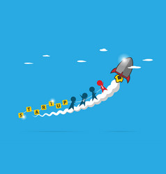 business team standing on smoke of rocket vector image vector image