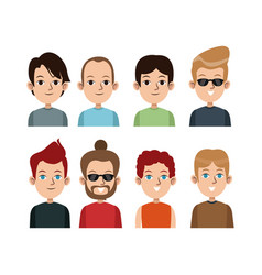 cartoon portrait young men group differents vector image vector image