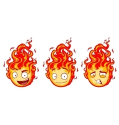 Fire smiles Set vector image