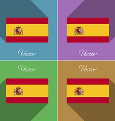 Flags Spain Set of colors flat design and long vector image