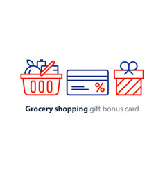 Food basket grocery order shop special offer bonus vector