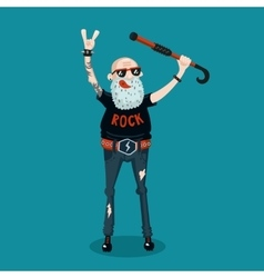 Forever young funny old rock fan active senior vector