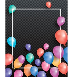 Holiday card with flying balloons and white frame vector image vector image