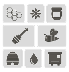 icons with on the theme of beekeeping vector image