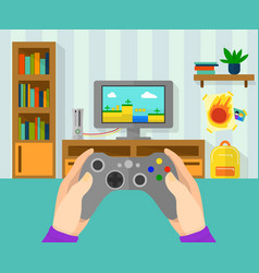 interior of gamer room of game vector image vector image