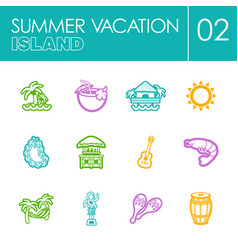 Island beach icon set summer vacation vector