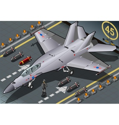 Isometric fighter bomber landed in front view vector