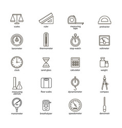 measuring signs black thin line icon set vector image vector image