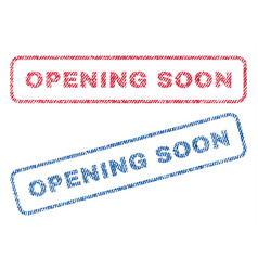 Opening soon textile stamps vector