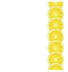 Seamless decorative border of lemon slice citrus vector