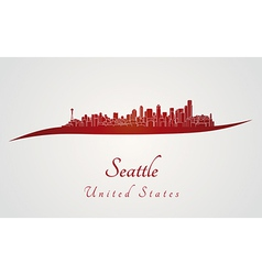 Seattle skyline in red vector