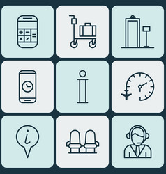 set of 9 transportation icons includes call vector image vector image
